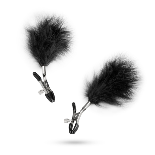 Aura Adjustable Nipple Clamps with Feathers
